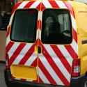 Pellicola adesiva rifrangente rosso/bianco zebrato vendita
