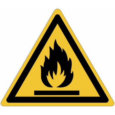 """Señales autoadhesivos EN ISO 7010 """"Material inflamable"""" W021"""