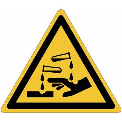 """Panneaux autocollants ISO 7010 """"Substances corrosives"""" - W023"""