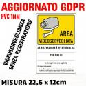 """N°2 Cartelli in PVC plastificato """"AREA VIDEOSORVEGLIATA"""" - 15 x 22,5 cm - Aggiornato GDPR UE 2016/679"""