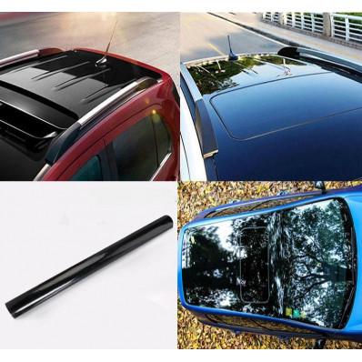 Film autocollant en vinyle noir brillant pour toit de voiture