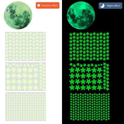 Demi-lune et 56 étoiles autocollantes phosphorescentes qui
