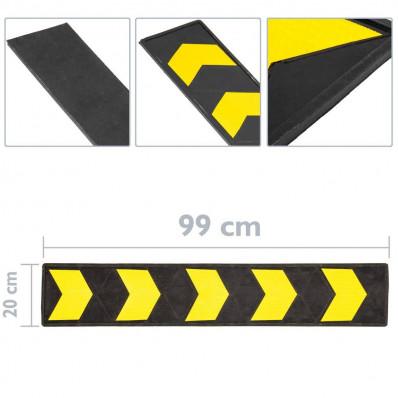 Butoir de protection réfléchissant en caoutchouc noir et jaune