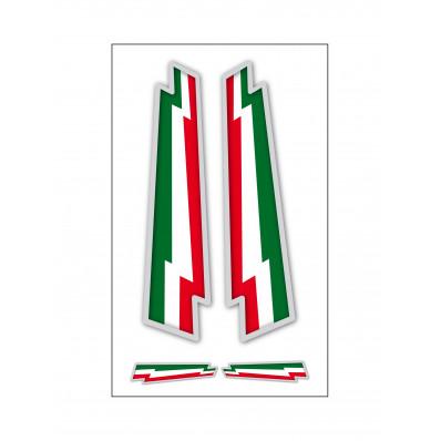 4 autocollants tricolore italien à forme d'éclair en vynil