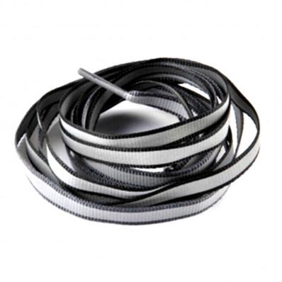 Lacci da scarpa riflettenti rifrangenti nero/silver vendita